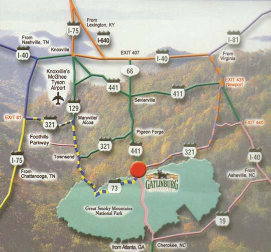 Directions to Gatlinburg Falls Resort on tennessee map, city map, sevierville map, catlettsburg map, south fulton map, mascot map, pigeon forge map, tellico map, red boiling springs map, monteagle map, dollywood map, gleason map, hardin valley map, st. augustine map, oliver springs map, rockwood map, east knoxville map, penang hotel map, alum cave map, cades cove map,